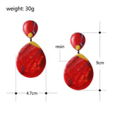 trendy mix color resin tear drop shape drop earrings for women