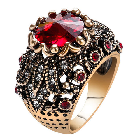 antique big red crystal stone ring for women
