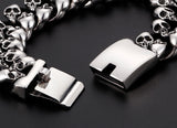 stainless steel skull chain & link bracelet for men