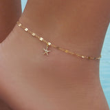 gold color starfish chain anklet for women