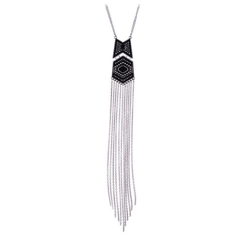 Ethnic colorful beads long tassel pendant necklace for women