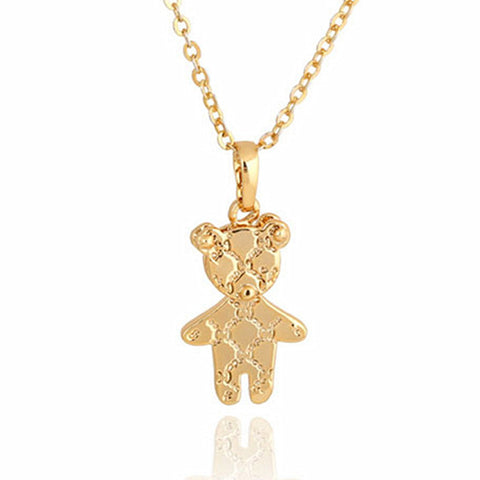 cute gold mini Teddy bear pendant necklace