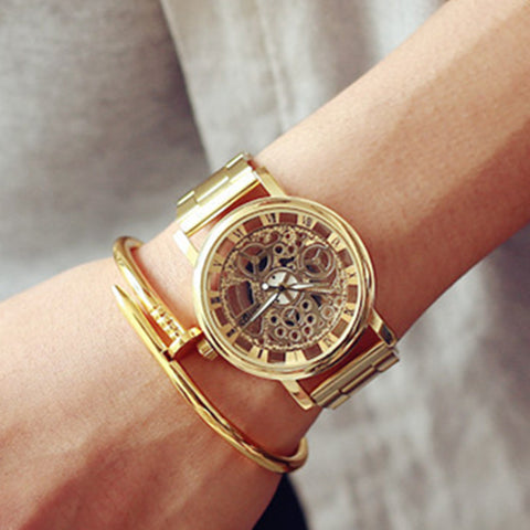 casual stainless steel skeleton quartz wrist watch