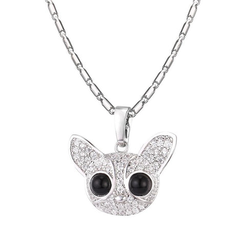 cubic zirconia cute dog chihuahua pendant necklace