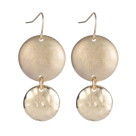 elegant gold/silver plated double round long drop earrings