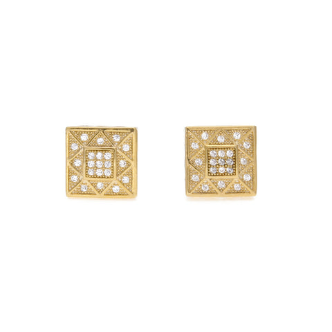 hip hop gold color square rhinestone crystal stud earrings