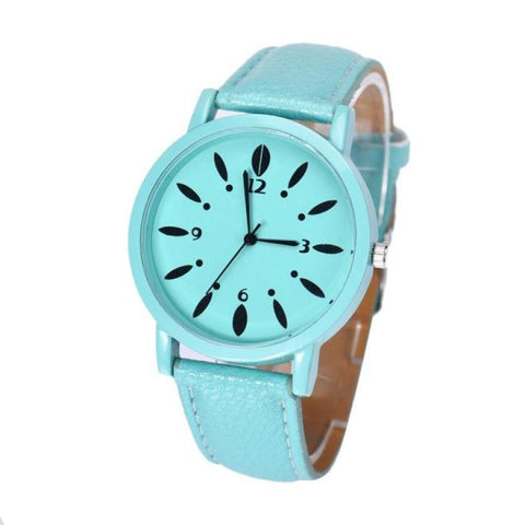 trendy pattern faux leather band analog quartz watch for women