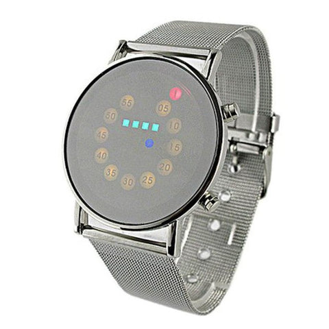 trendy rolling led lights dial stainless steel digital wrist watch