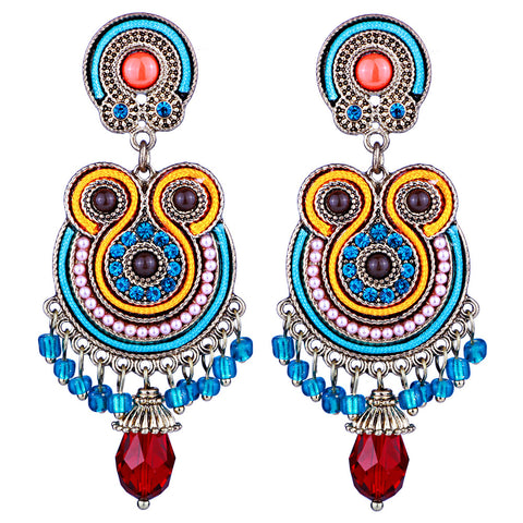 ethnic style hand beaded tassel drop earrings for women