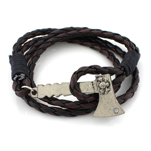 long leather axe pendant bracelet