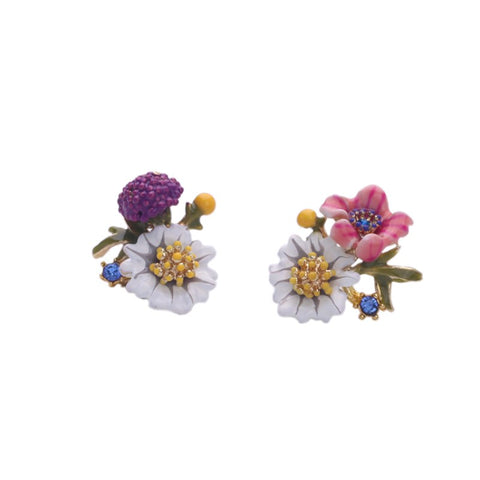 cute multicolor tiny flowers shape stud earrings for women