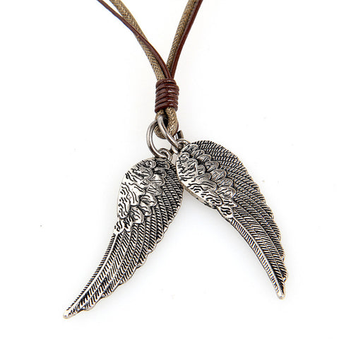 metal angel wings pendant genuine leather necklace