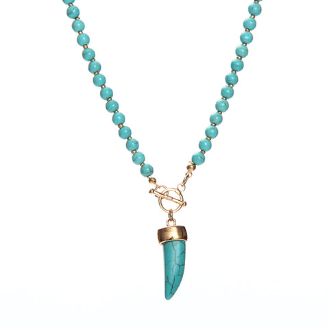 handmade blue stone with tassel beads necklace for women