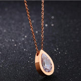 stainless steel Crystal Water Drop Pendant Necklace