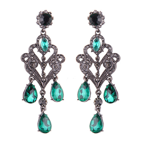 vintage style green stone tassel stud earrings for women