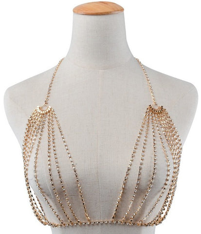 sexy hollow rhinestone charm bra body necklace for women
