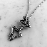 cool stainless steel skeleton king pendant necklace for men