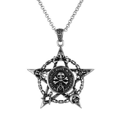 cool stainless steel star with a skull pendant necklace for men