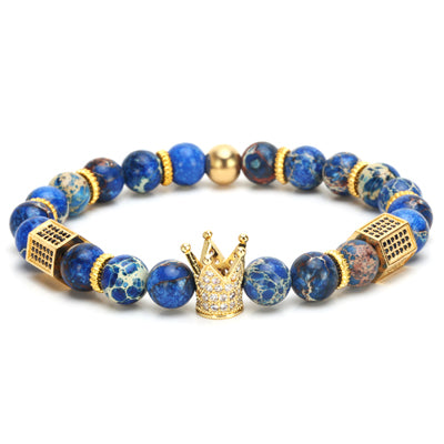 imperial crown charm natural stone beads men's bracelet