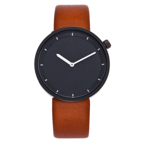 trendy minimalist dial leather band quartz wrist watch