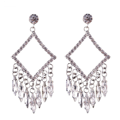 luxury crystal tassel statement drop earrings for women