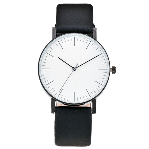 simple style leather strap quartz wrist watch for women