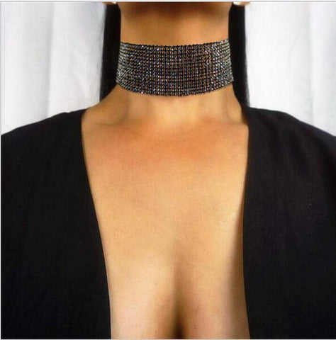 double strand layered rhinestone choker necklace for women