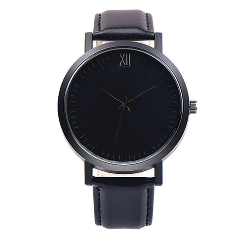 elegant minimal design pattern leather band quartz watch for men