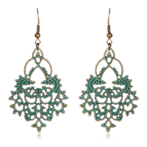vintage long hollow geometry pattern drop earrings for women