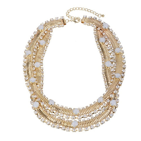 vintage double layer crystal statement necklace for women