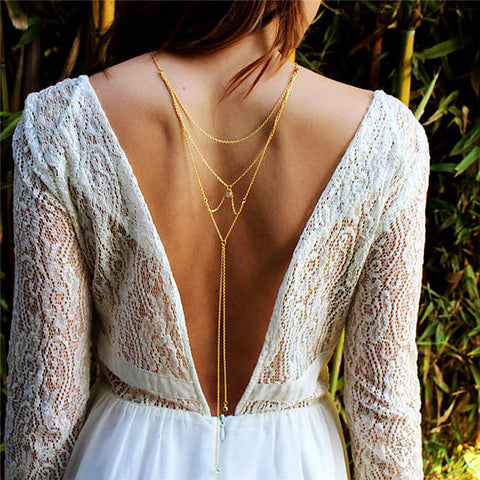 sexy gold color clear rhinestone back body necklace