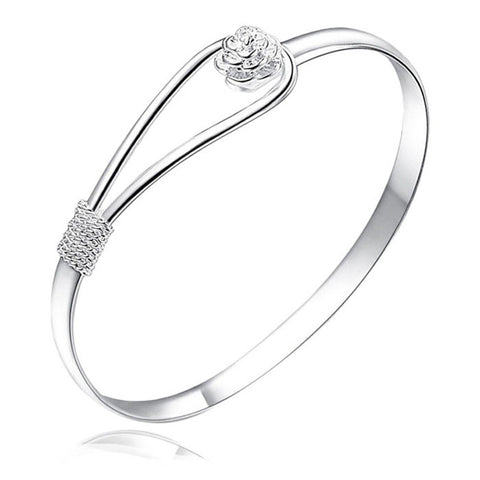 elegant silver flower clasp bangle bracelet