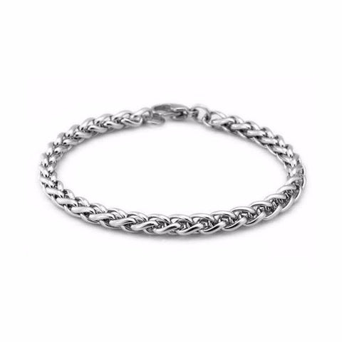 stainless steel silver tone link chain bracelet for men