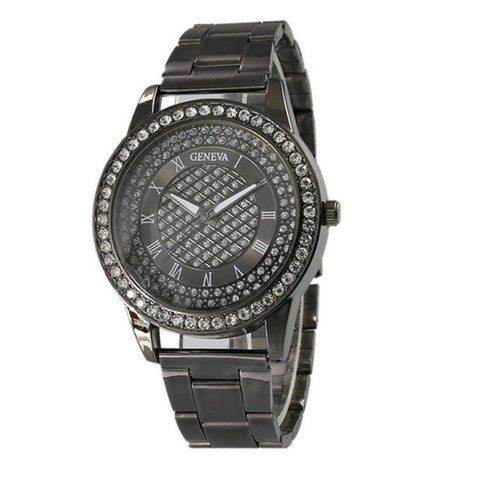 luxury stainless steel crystal dial quartz watch for women