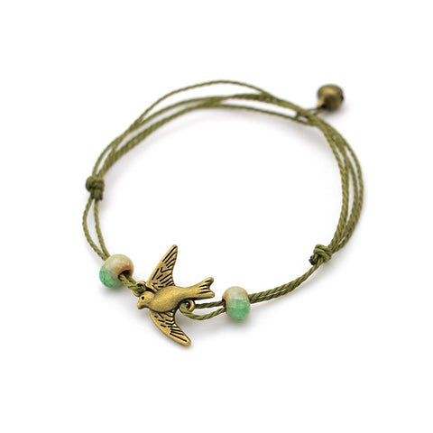 bohemian ceramic beads and bow charm bracelet for women