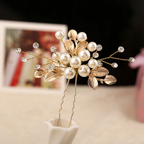 vintage golden crystal & simulated pearl hair pin for women