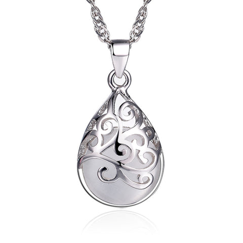 silver color moonlight opal drop pendant necklace for women