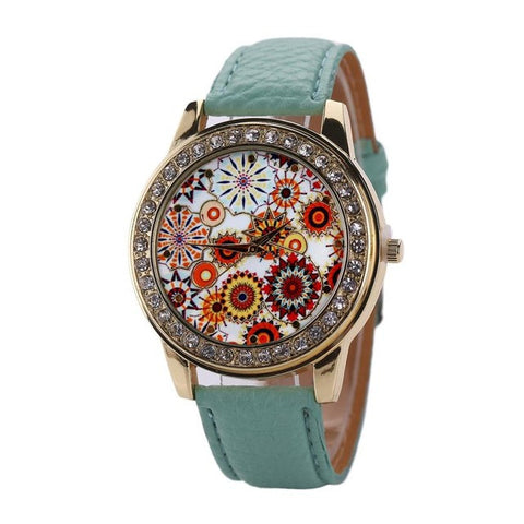 romantic flower pattern crystal dial leather band watch for women