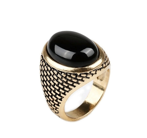 punk style oval shape black stone ring for men