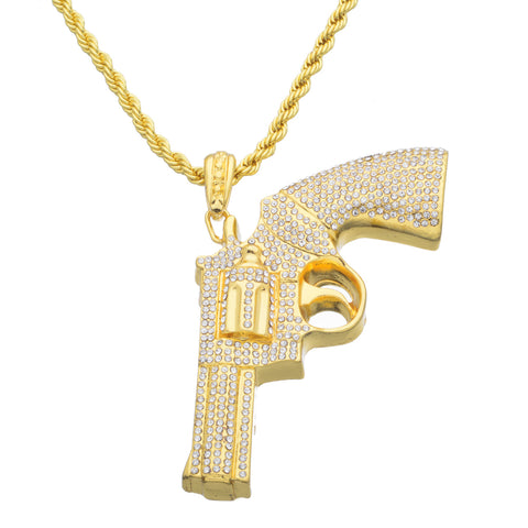 cool big size iced out gun pendant necklace for men