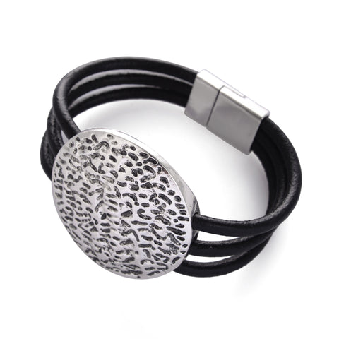 round metal shape multilayer leather cord bracelet for women