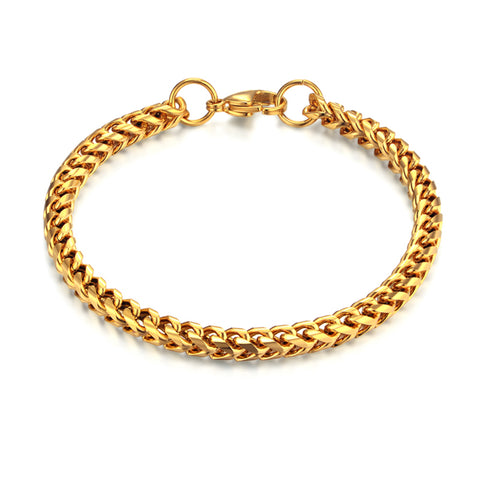 gold color stainless steel bracelet for men