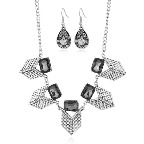 vintage geometric crystal statement jewelry set for women