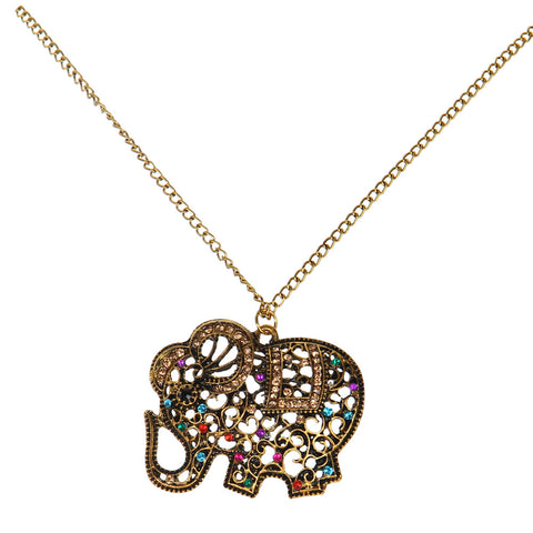 bohemian red crystal elephant pendant necklace for women