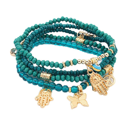 kabbalah hamsa hand blue eye charm beads bracelet for women