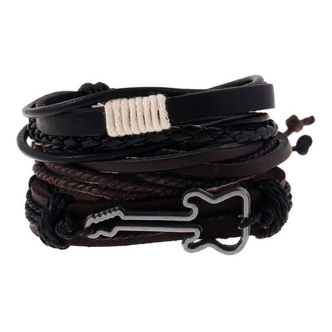hemp rope woven pu rivet beaded leather guitar bracelet