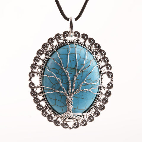 vintage natural stone life tree pendant necklace for women