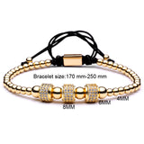 trendy pave cz crystal beads macrame bracelet for men