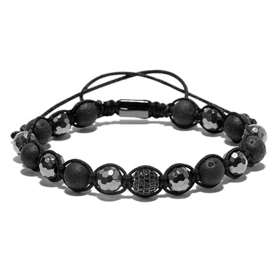 natural lava stone beads braiding macrame bracelet for men