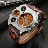 cool big multiple time zone leather strap wrist watch for men